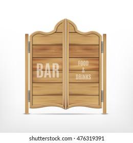 Old western saloon door. Vector icon. EPS10
