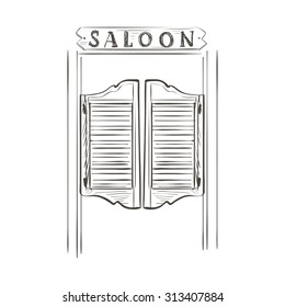 Old western swinging saloon doors. Doodle style