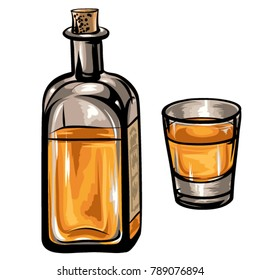 Old whiskey bottle and a glass vector. Hand-drawn, retro style illustration isolated on white background.
