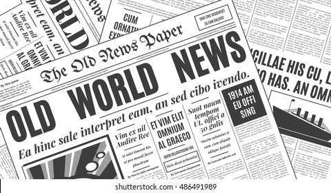 Old white newspaper vintage design. Retro background vector template with place for your text.