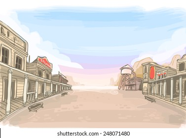 Old Wild West Cowboy Town Scenery. Vector Cartoon Kids Western Saloon Background. Western Store Cowboy Old West Vector Cartoon Wild Western Background Illustration
