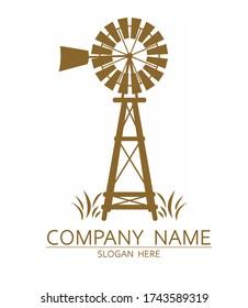 Old Windmill Logo Design Vector
