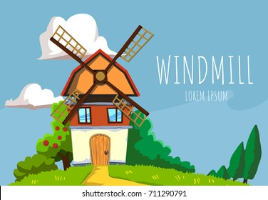 Old windmill on nature background with grass, bushes, trees and clouds. Flat design vector illustration