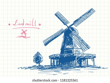 Old windmill and small tree, Blue pen sketch on square grid diary page, Hand drawn vector illustration