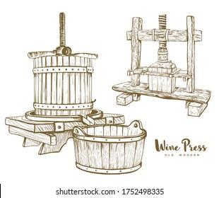 old wine press set vector illustration