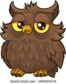 Old wise fluffy owl of brown color