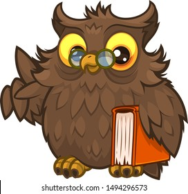 Old wise fluffy owl in glasses and with a book