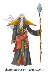 old wise magician with staff