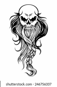 the old wise skull head with long beard