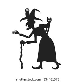 Old witch with animals