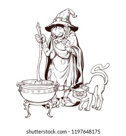 Old witch in a cone hat with her black cat brewing a magic potion in a cauldron. Halloween cartoon style character. Black and white engraving style drawing isolated on a white background. EPS10 vector