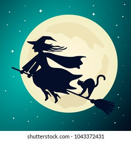 The old witch flies on a broom with a black cat in the night sky against the background of the full moon. Vector illustration. The Haloween Concept