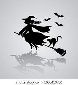 The old witch flies on a broomstick with a black cat against the background of bats. Vector illustration with reflection of shadow. The Haloween Concept