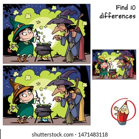 Old witch teaches little witch to make a magic potion. Find 10 differences. Educational matching game for children. Cartoon vector illustration