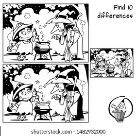 Old witch teaches little witch to make a magic potion. Find 10 differences. Educational matching game for children. Black and white cartoon vector illustration