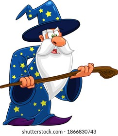 Old Wizard Cartoon Character With A Cane Making Magic. Vector Illustration Isolated On White Background