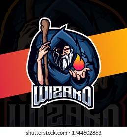 old wizard mascot esport logo design