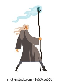 old wizard monk with magical staff