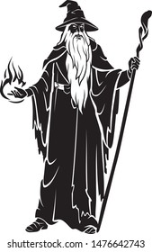 Old Wizard with Staff, Casting Spells