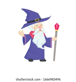 old wizard vector mascot cartoon with white beard ,purple hat and coat,magic red gem wand  icon illustration