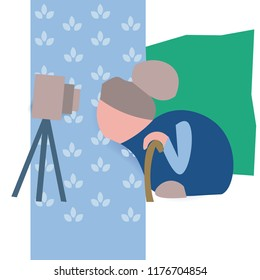 Old woman bloger shoot video on camera. Abstract paper cut style. Vector illustration.