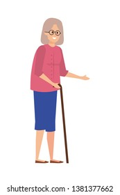 old woman with cane character