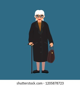 old woman with a cane and a handbag, abstract cartoon design, vector illustration, big black eyes, black hair  (female set 8/8)