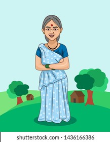 old woman cartoon character . indian villages lifestyle