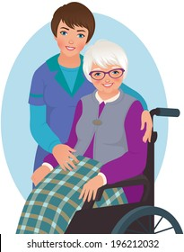 Old woman in a chair and nurse