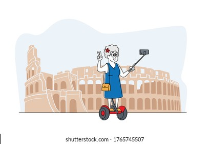 Old Woman Character Making Selfie on Smartphone Stand on Hoverboard at Coliseum. Elderly Lady Saving Life Moments Memory in Foreign Travel. Senior Tourist Traveling Abroad. Linear Vector Illustration
