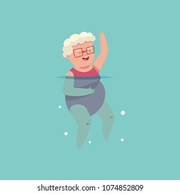 Old woman doing aqua aerobics exercise in swimming pool. Vector cartoon fitness granny character isolated on a blue background. Healthy lifestyle illustration.