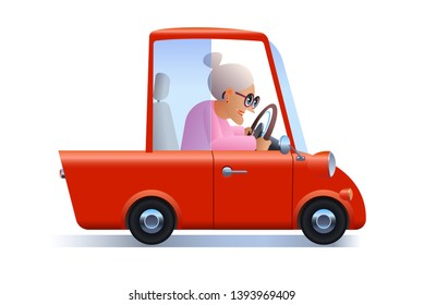 Old woman drive a red car alone cartoon character illustration.