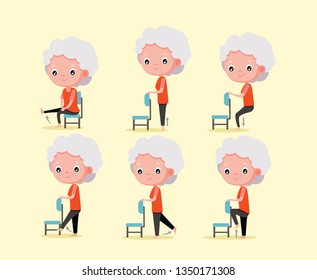 Old woman exercise set with chair For the health of the elderly, cartoon vector