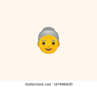 Old woman face vector isolated flat illustration. Old woman head icon