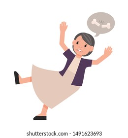 Old woman falling down. grandmother slip. isolated vector