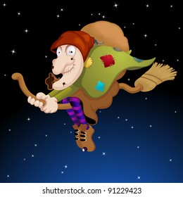 The old woman flying on the broom in the Epiphany night