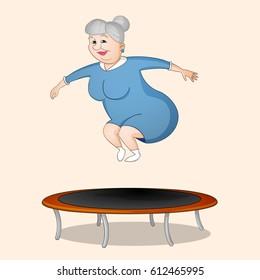 Old woman grandma in blue dress jumping on trampoline drawn in cartoon style