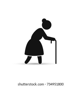 Old woman icon, vector. Grandmother silhouette, side view, on white background.