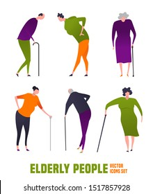 The old woman, man with a cane. Elderly people problem. Medicine, healthy lifestyle concept. Editable vector illustration in orange, green, violet colors isolated on white background. Flat icons set