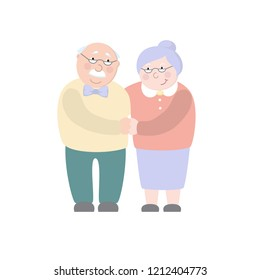 Old woman and old man couple embrace affectionately. Feeling happy of granddaddy and grandmother retirement Age. Vector illustration isolated white background.