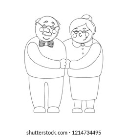 Old woman and old man couple embrace affectionately. Feeling happy of granddaddy and grandmother retirement Age. Vector illustration isolated white background,isolated on white background