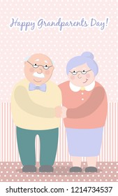 Old woman and old man couple embrace affectionately. Feeling happy of granddaddy and grandmother retirement Age. Vector illustration .
