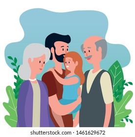 old woman and man couple with their son and granddaughter