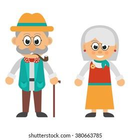 old woman and old man smoke set