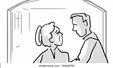 Old woman and man are talking in a hallway. Black and white vector sketch. Simple drawing.