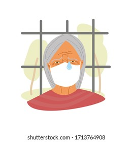 An old woman in a medical mask is crying. Catastrophe in European nursing homes during quarantine covid-19 concept. Older people in isolation. Vector flat style illustration