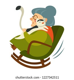 Old woman on retirement sitting in wooden rocking chair vector. Senior lady relaxing with cat, female grandmother hugging kitten. Home atmosphere with domestic fluffy animal calmly purring on lap