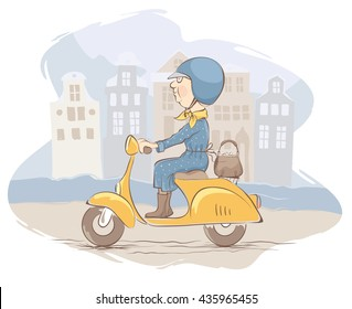 Old woman on scooter rides through the old town/Granny traveling on a bike, vector illustration