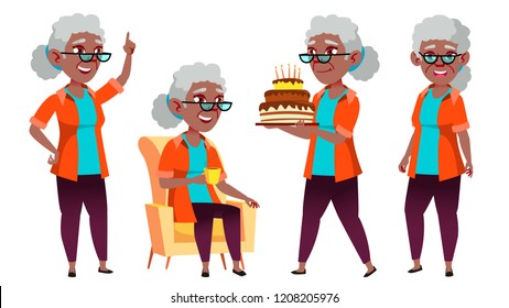 Old Woman Poses Set Vector. Black. Afro American. Elderly People. Senior Person. Aged. Caucasian Retiree. Smile. Web, Poster, Booklet Design. Isolated Cartoon Illustration