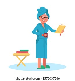 Old woman reading book after shower at home. Senior female bookworm wearing bath towel, bathrobe, slippers standing with cup of hot tea or coffee. Literacy lover. Vector flat illustration